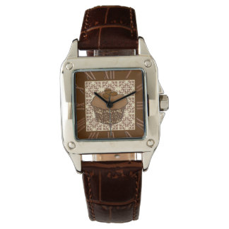 Mocha / Coffee Frosted Cupcake, Lace Background Watch