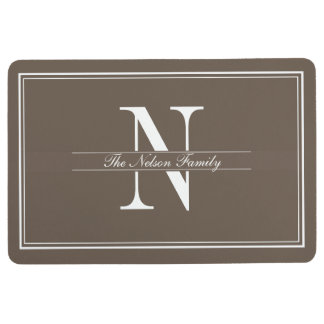 Mocha Double Border Monogram Floor Mat