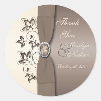"""Mocha Ivory Floral Monogrammed 3"""" Round Sticker"""