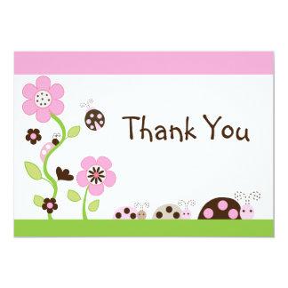 "Mocha Ladybug Girl Baby Shower Thank You Card 5"" X 7"" Invitation Card"