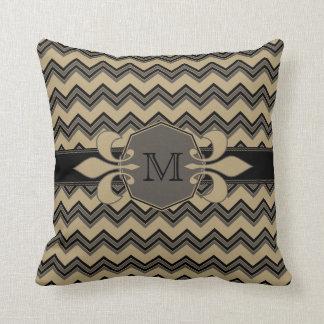 Mocha Latte Chevron Pattern Monogram Pillow