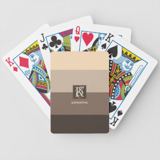 Mocha Latte Color Palette Stripes Monogram Bicycle Playing Cards
