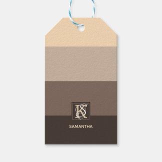 Mocha Latte Color Palette Stripes Monogram Gift Tags