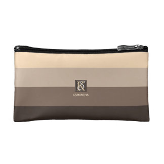 Mocha Latte Color Palette Stripes Monogram Makeup Bag
