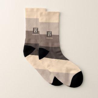 Mocha Latte Color Palette Stripes Monogram Socks
