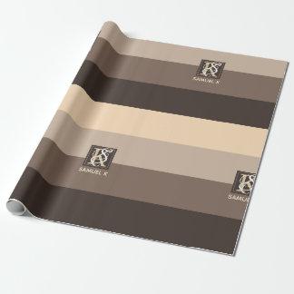 Mocha Latte Color Palette Stripes Monogram Wrapping Paper