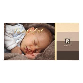 Mocha Latte Color Palette Stripes Photo Monogram Card