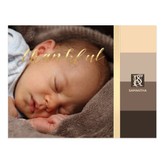Mocha Latte Color Palette Stripes Photo Monogram Postcard