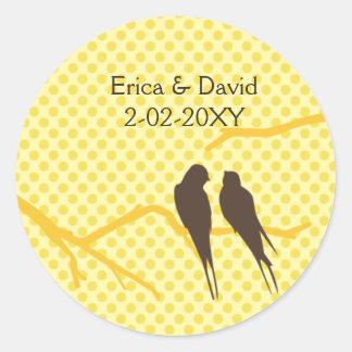 mocha lovebirds wedding label