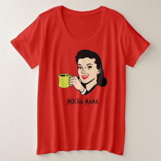 Mocha Mama Vintage 1950's Funny Red Plus Size T-Shirt