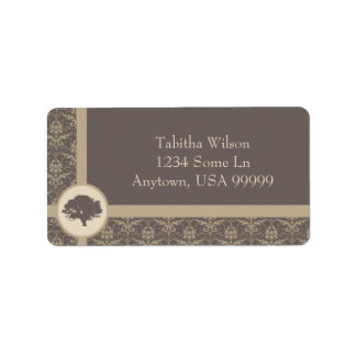 Mocha Oak Damask Address Label