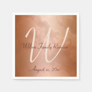 Mocha Rose Marble Personalized Paper Napkin