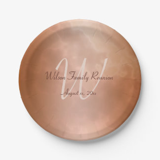 Mocha Rose Marble Personalized Paper Plate