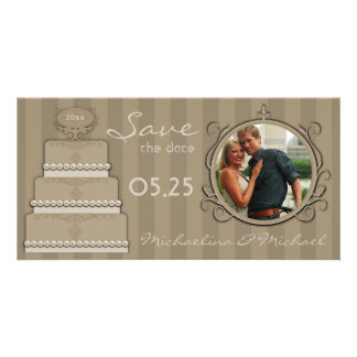 Mocha Stripes Save The Date Photo Card
