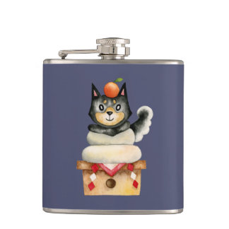 """Mochi Shiba"" Dog Watercolor Illustration Hip Flask"