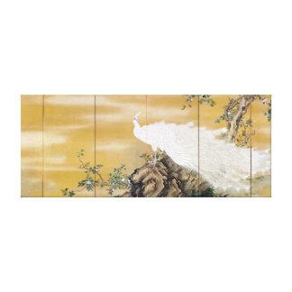 Mochizuki Gyokkei White Peafowl Canvas Print