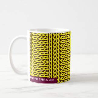 Mock knit - rib stitch, yellow/dark brown - mug