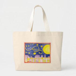 Mock Van Gogh Starry Night & Cafe Jumbo Tote Bag
