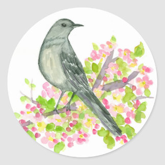 Mockingbird Apple Blossom Watercolor Flowers Classic Round Sticker
