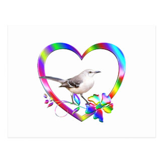 Mockingbird in Colorful Heart Postcard