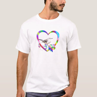 Mockingbird in Colorful Heart T-Shirt