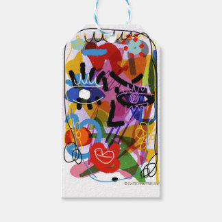 Mod Abstract  Face Digital Drawing Gift Tags