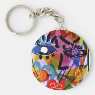 Mod Abstract  Face Digital Drawing Keychain