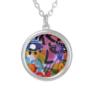 Mod Abstract  Face Digital Drawing Silver Plated Necklace