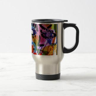 Mod Abstract  Face Digital Drawing Travel Mug