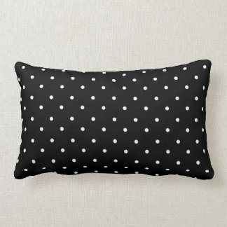 """""""Mod Accent""""  Revised-Black_White Polka Dots_ Lumbar Pillow"""