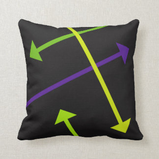 Mod Arrow on Black Throw Pillow