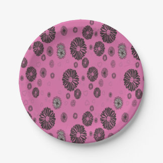 Mod Black and White Graphic Flowers On Pink Paper Plate