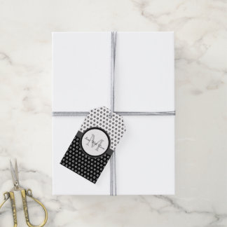 Mod Black and White Polka Dots Monogram With Name Gift Tags