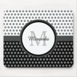 Mod Black and White Polka Dots Monogram With Name Mouse Pad
