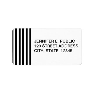 Mod Black and White Stripes Pattern Label
