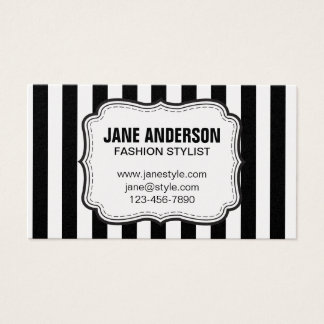 Mod Black White Stripes Pattern FASHION STYLIST Business Card