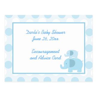 Mod Blue Elephant Baby Shower Advice Cards Postcard