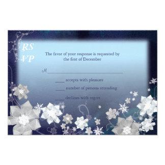 Mod Blue White Floral Winter Wedding RSVP 3 5x5 Invite