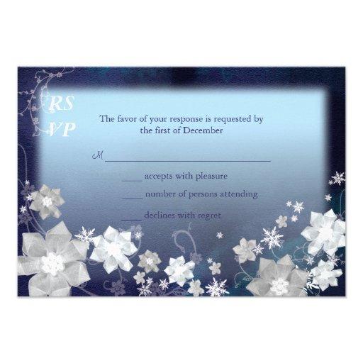 Mod Blue, White Floral Winter Wedding RSVP (3.5x5) Invite