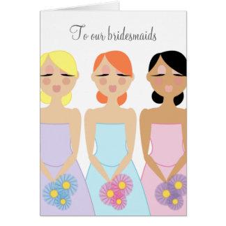 mod bridesmaid wedding THANK YOU card 2