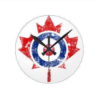 Mod Canada Curling Hockey Target Grunge Ice Clocks