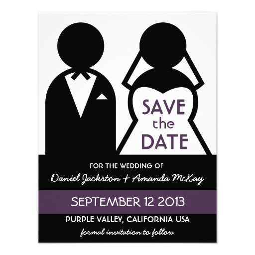 Mod Casual Icon Save the Date Purple Custom Invitations