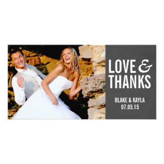 Mod Chalkboard Wedding Thank You Photocard Picture Card