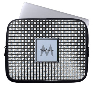 Mod Check Pattern Blue and Black Squares Laptop Sleeve