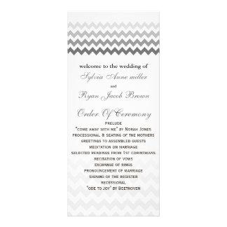 Mod chevron gray  Ombre Wedding program Rack Card Template