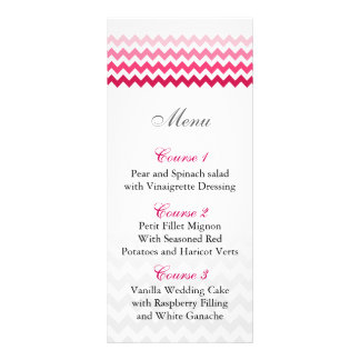 Mod chevron Pink Ombre wedding menu cards Personalized Rack Card