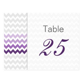 Mod chevron purple Ombre wedding table numbers Postcard