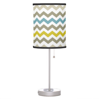 Mod Chevron Yellow Blue Gray Modern Table Lamp