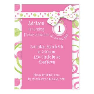 Mod Circles Girl's 1st Birthday Postcard Invitatio
