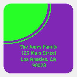 Mod colorful green purple square sticker